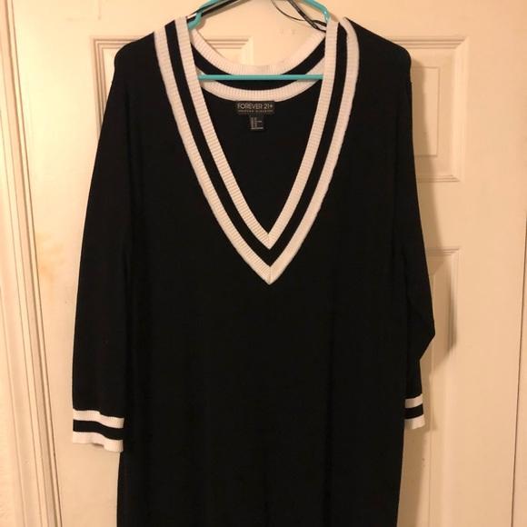 Forever 21 Dresses Plus Size Vneck Varsity Sweater Dress Poshmark